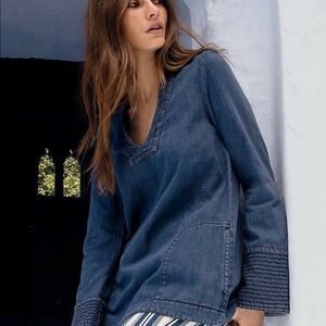 Free people dream bell long sleeve denim tunic S